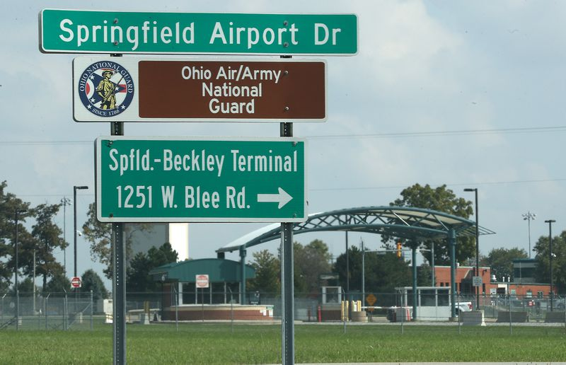The entrance to the Springfield Air/Army National Guard base on West Blee Road in Clark County. BILL LACKEY/STAFF