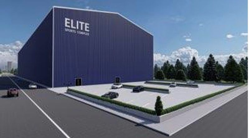 A digital rendering for a concept that would include a two-story facility that would have an indoor football field, basketball courts, fitness equipment as well as an area for boxing lessons. Submitted